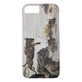 Wildebeest jumping into Mara River during iPhone 7 Case