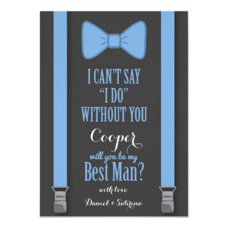 Will You Be My Best Man - Blue Tie Braces 11 Cm X 16 Cm Invitation Card