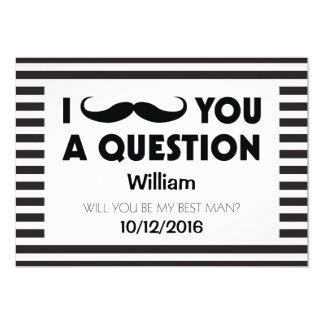 Will You Be My Best Man Moustache Black Stripes 13 Cm X 18 Cm Invitation Card