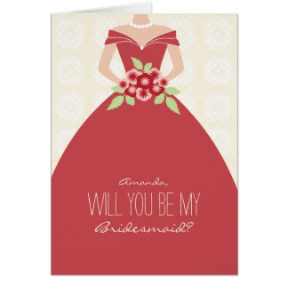 Will You Be My Bridesmaid Card (maroon)