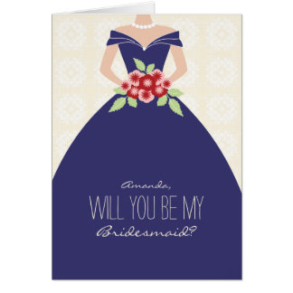 Will You Be My Bridesmaid Card (navy blue)