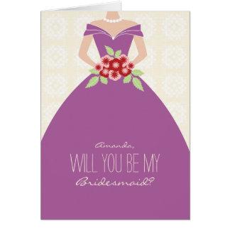 Will You Be My Bridesmaid Card (radiant orchid)
