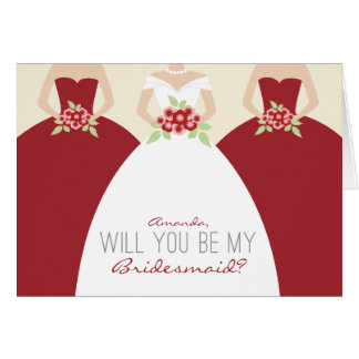 Will You Be My Bridesmaid Card (red)
