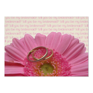 will you be my bridesmaid pink gerbera on letter 13 cm x 18 cm invitation card