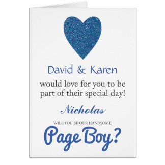 Will You Be My Page Boy Blue Glitter Heart Greeting Card