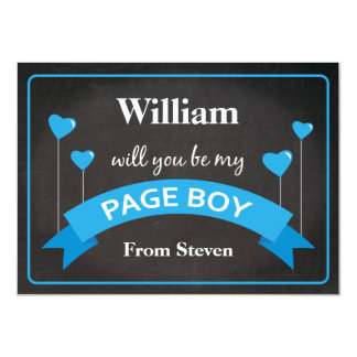 Will You Be My Page Boy Chalkboard Black Blue 11 Cm X 16 Cm Invitation Card
