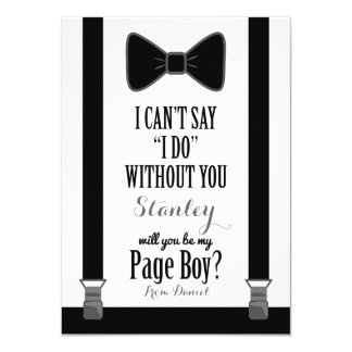 Will You Be My Page Boy - Tuxedo Tie Braces 11 Cm X 16 Cm Invitation Card