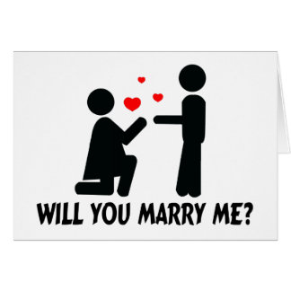 Will You Marry Me Bended Knee Woman & Man Greeting Card