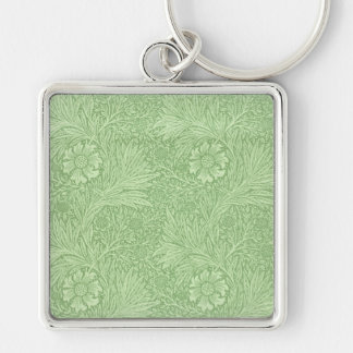 William Morris Marigold (Green) Pattern Silver-Colored Square Key Ring