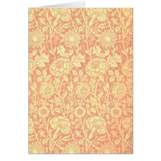 William Morris Pink and Rose Design Greeting Card