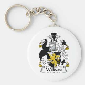 Williams Family Crest Basic Round Button Key Ring