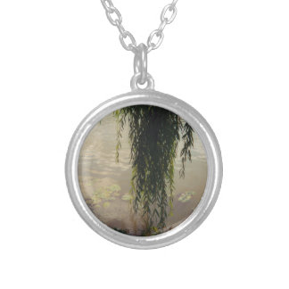 willow tree and lily pads round pendant necklace