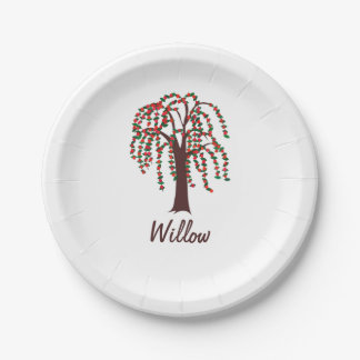 Willow Tree with Hearts - Customizable 7 Inch Paper Plate