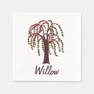 Willow Tree with Hearts - Customizable Paper Serviettes