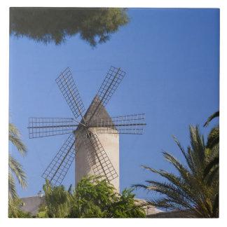 Windmill, Palma, Mallorca, Spain Large Square Tile