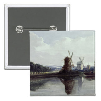 Windmills by a River, 19th century 15 Cm Square Badge