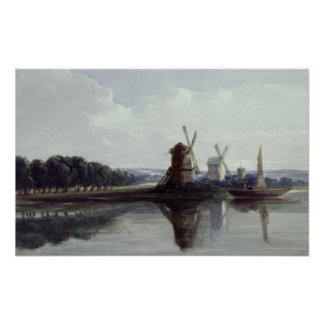 Windmills by a River, 19th century Poster