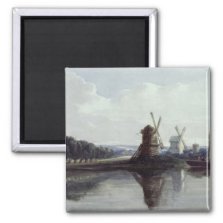 Windmills by a River, 19th century Square Magnet