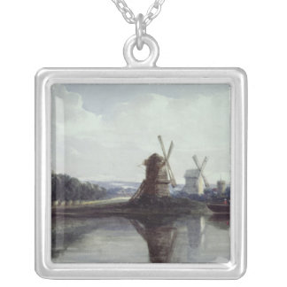 Windmills by a River, 19th century Square Pendant Necklace