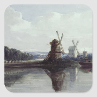 Windmills by a River, 19th century Square Sticker