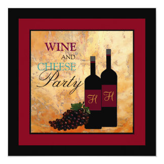 Wine and Cheese Party 13 Cm X 13 Cm Square Invitation Card