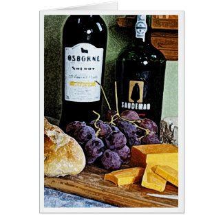 Wine Bread Cheese and Grapes Still Life Note Card