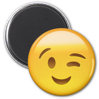 Winking Face Emoij 6 Cm Round Magnet