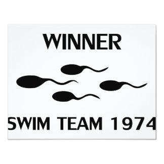winner swim team 1974 icon 11 cm x 14 cm invitation card