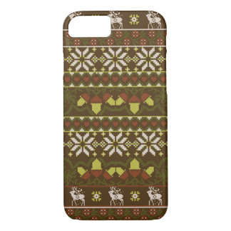 Winter green knitted patern with deer iPhone 7 case