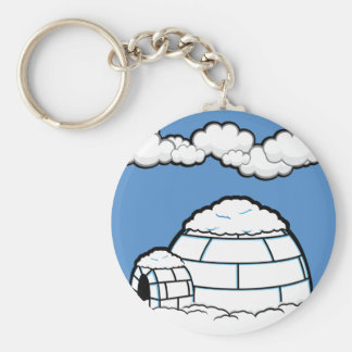 Winter IGLOO SNOW BLUE SKY WHITE CLOUDS CARTOON Basic Round Button Key Ring