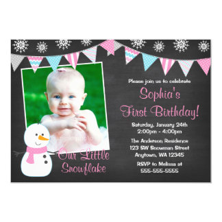 Winter Onederland Snowman Chalkboard 1st Birthday 13 Cm X 18 Cm Invitation Card