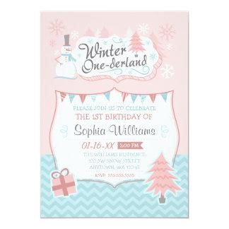 Winter Onederland Snowman Girl 1st Birthday 13 Cm X 18 Cm Invitation Card
