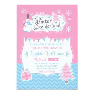 Winter Onederland Snowman Pink Blue 1st Birthday 13 Cm X 18 Cm Invitation Card