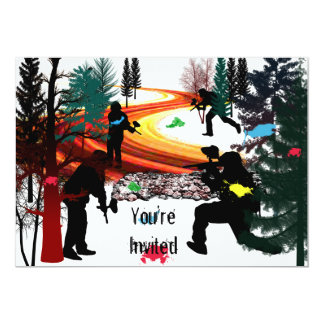 Winter Paintball in the Woods 13 Cm X 18 Cm Invitation Card