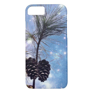 Winter Pine Cones under a starry night sky iPhone 7 Case