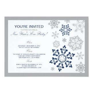 Winter Snow New Year's Eve Party Invitation (navy)