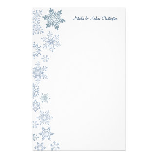 Winter Snowflakes Wedding Thank You Letterhead Customized Stationery