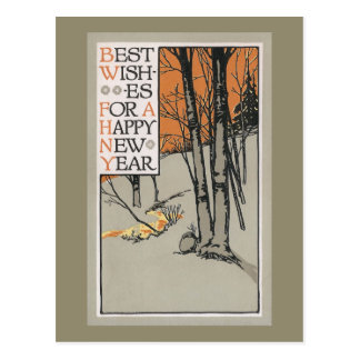 Winter Trees and Orange Sky Vintage New Year Postcard