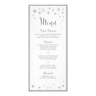 Winter Wedding Menu / Snowflake Wedding Menu Rack Cards