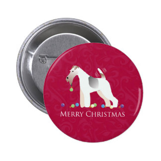 Wire Fox Terrier Silhouette Christmas Design 6 Cm Round Badge