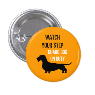 Wire Haired Dachshund Watch Your Step 3 Cm Round Badge