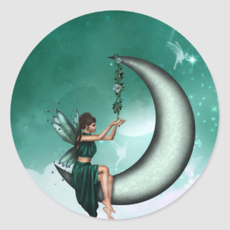 Wishing Moon Round Sticker