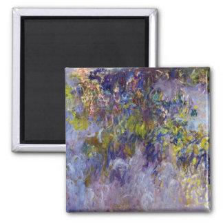 Wisteria (left) by Claudet Monet, Vintage Flowers Square Magnet