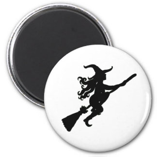 Witch on a Broom Silhouette Magnet