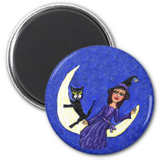 Witch On Crescent Moon Black Cat 6 Cm Round Magnet
