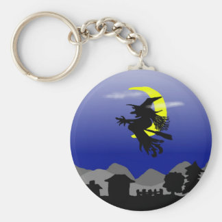 Witch Town Wicked Halloween Themed Design Basic Round Button Key Ring