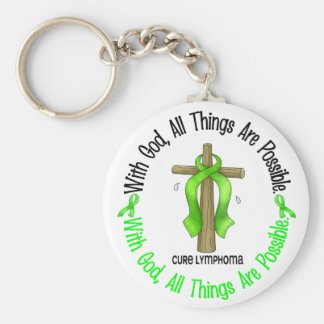 WITH GOD CROSS Non-Hodgkin's Lymphoma T-Shirts Basic Round Button Key Ring