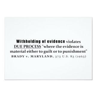 Withholding of Evidence Brady v Maryland Case law 13 Cm X 18 Cm Invitation Card