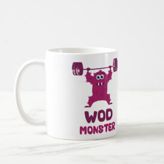 WOD Monster (Cute Barbell Snatch Monster) Basic White Mug