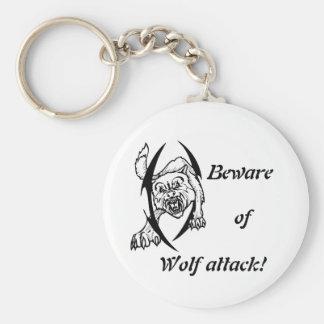 Wolf bites basic round button key ring